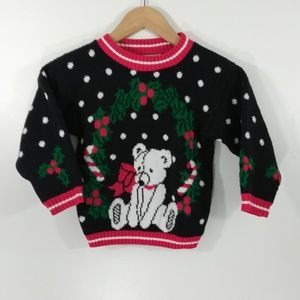 Vintage 80s Kids Christmas Sweater Size S 4-5 Bear